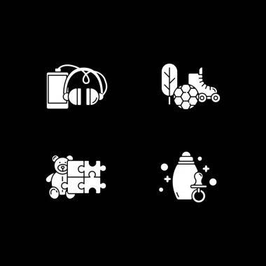 E commerce departments white glyph icons set for dark mode. Hobby and lifestyle. Online shopping categories. Store products. Silhouette symbols on black background. Vector isolated illustration bundle icon