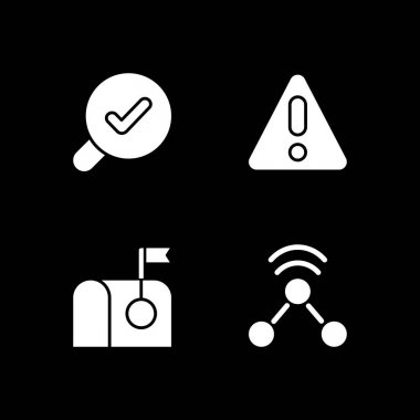 Modern interface white glyph icons set for dark mode. Error message for application user. Smartphone menu. Silhouette symbols on black background. Vector isolated illustration bundle icon