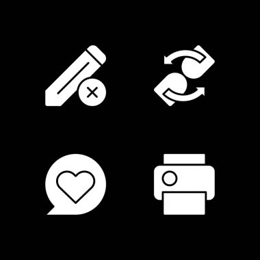Mobile app interface signs white glyph icons set for dark mode. Print text documents. Editing data. Smartphone menu. Silhouette symbols on black background. Vector isolated illustration bundle icon