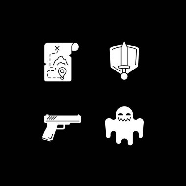 TV genres white glyph icons set for dark mode. Movie and film categories. Horror and history. Television entertainment. Silhouette symbols on black background. Vector isolated illustration bundle icon