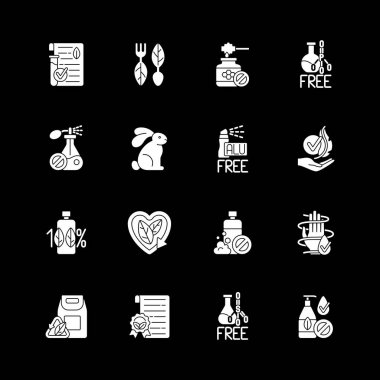 Natural cosmetic white glyph icons set for dark mode. No chemicals, dermatology products. Eco friendly product. Silhouette symbols on black background. Vector isolated illustration bundle icon