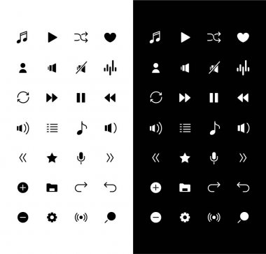 Music glyph icons set for night and day mode. Mute and repeat sound. Smartphone multimedia. Mobile UI. Silhouette symbols for light, dark theme. Vector isolated illustration bundle icon