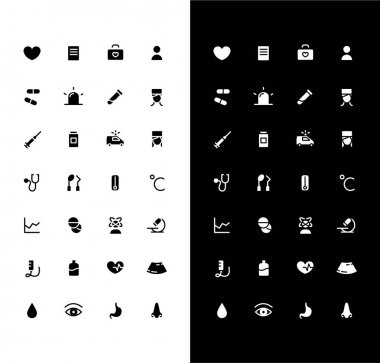 Medicine glyph icons set for night and day mode. Health care. Doctor consultation. Medical treatment. Mobile UI. Customizable thin line symbols. Isolated vector outline illustration. Editable stroke icon