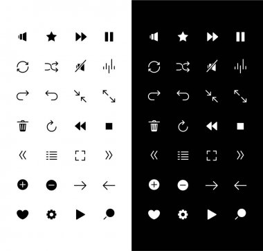 Media player glyph icons set for night and day mode. Audio settings. Play music and stop sound. Mobile UI elements. Silhouette symbols for light, dark theme. Vector isolated illustration bundle icon