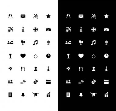 Holiday events glyph icons set for night and day mode. Party calendar. Birthday, wedding date. Mobile UI elements. Silhouette symbols for light, dark theme. Vector isolated illustration bundle icon
