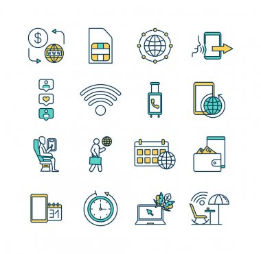 Roaming RGB color icons set. Prepaid internet access. Sim card. Incoming call. Web browsing. Traveling abroad. Social media. Money transfer. Internet connectivity. Isolated vector illustrations icon