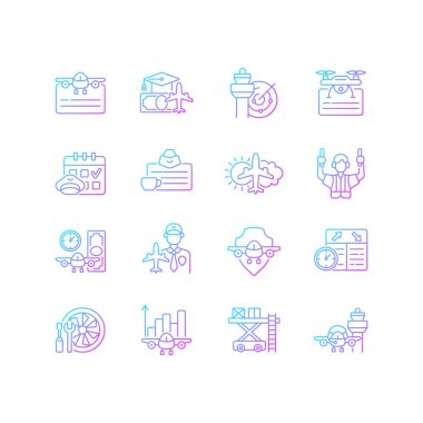 Aviation gradient linear vector icons set. Civil aviation issues. Flight attendant license. Aviation safety. Thin line contour symbols bundle. Isolated vector outline illustrations collection icon