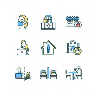 Quarantine RGB color icons set. Cloth mask wearing. Remote job. Events cancellation. Self-isolation. Working mother. Home workplace. Lockdown restrictions. Telecommuting. Isolated vector illustrations icon