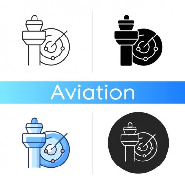 Air traffic control icon. Radar and control tower. Civil aviation safety. Air traffic controller profession. Airlines optimization. Linear black and RGB color styles. Isolated vector illustrations icon
