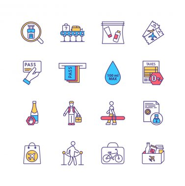 Airport security regulations RGB color icons set. Airline ticket. Special baggage. 100 ml liquid capacity restriction. Physical bag search. Screening checkpoint process. Isolated vector illustrations icon