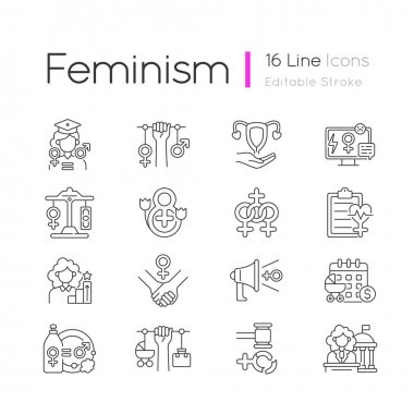 Women in government linear icons set. Paid maternity leave. Feminism. Equal education opportunities.Customizable thin line contour symbols. Isolated vector outline illustrations. Editable stroke icon