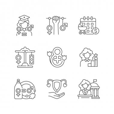 Feminism linear icons set. Division of domestic labour. Equal education opportunities. Equal pay. Customizable thin line contour symbols. Isolated vector outline illustrations. Editable stroke icon