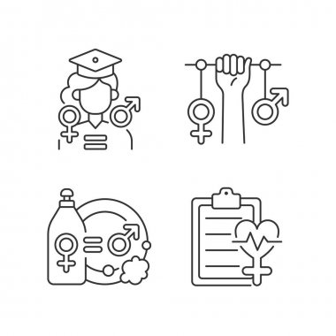 Equal education opportunities linear icons set. Division of domestic labour. Struggle for women rights. Customizable thin line contour symbols. Isolated vector outline illustrations. Editable stroke icon