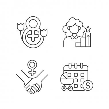 Feminism linear icons set. Girl power. Women day. Paid maternity leave. Establishing social justice. Customizable thin line contour symbols. Isolated vector outline illustrations. Editable stroke icon