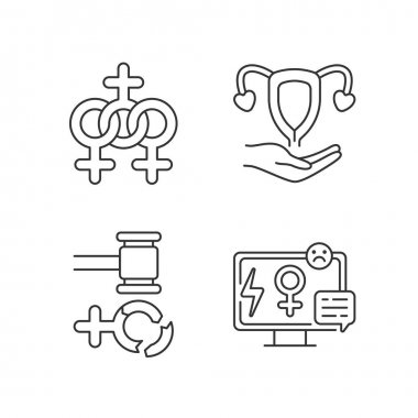 Feminism linear icons set. Media sexism. Protection women rights. Expansion of the rights of women.Customizable thin line contour symbols. Isolated vector outline illustrations. Editable stroke icon