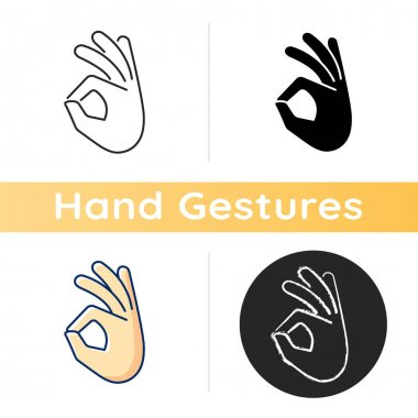Okay gesture icon. Sign or ring gesture. Perfect . Communication elements. Circle made from index and thumb. Army gestures. Linear black and RGB color styles. Isolated vector illustrations icon