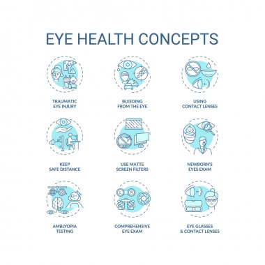 Eye health concept icons set. Traumatic eye injury types. Blood from body organs. Use matte screen filters idea thin line RGB color illustrations. Vector isolated outline drawings. Editable stroke icon