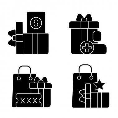 Purchase discounts and cashback black glyph icons set on white space. Discount coupons and promotional codes. Customers spending money and bonuses. Silhouette symbols. Vector isolated illustration icon