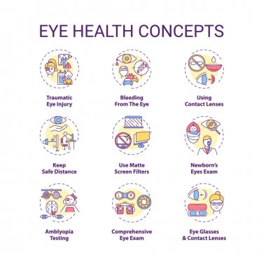Eye health concept icons set. Traumatic eye injury. Bleeding from body organs. Use matte screen filters idea thin line RGB color illustrations. Vector isolated outline drawings. Editable stroke icon