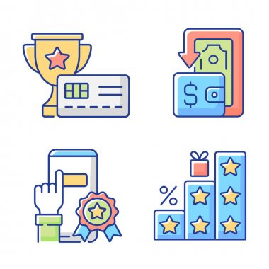 Benefits and refunds RGB color icons set. Consumers shop and save money. Purchasing things and getting bonuses. Rewarding credit card. Savings and cashback. Isolated vector illustrations icon