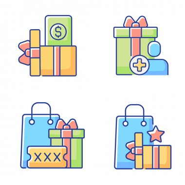 Purchase discounts and cashback RGB color icons set. Discount coupons and promotional codes. Customers spending money and bonuses. Isolated vector illustrations icon
