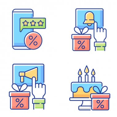 Discount and percentage RGB color icons set. Rewards and promotions. Bonuses for activities in social networks of stores. Discounts on purchases and free gifts. Isolated vector illustrations icon
