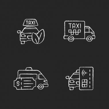 Eco-friendly taxi chalk white icons set on black background. Cargo taxi. Special event transportation. Contactless payment. Convenient transportation. Isolated vector chalkboard illustrations icon