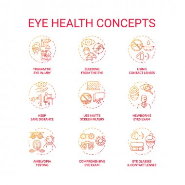 Eye health concept icons set. Traumatic eye injury. Bleeding from body organs damage. Use matte screen filters idea thin line RGB color illustrations. Vector isolated outline drawings icon