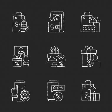 Cash back and cost reduction chalk white icons set on black background. Financial transactions. Gift for buying of things. Loyalty program. Isolated vector chalkboard illustrations icon