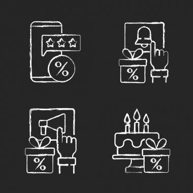 Discount and percentage chalk white icons set on black background. Rewards and promotions. Bonuses for activities in social networks of stores. Isolated vector chalkboard illustrations icon