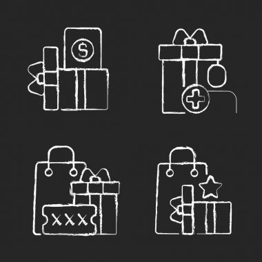 Purchase discounts and cashback chalk white icons set on black background. Discount coupons and promotional codes. Customers spending money and bonuses. Isolated vector chalkboard illustrations icon