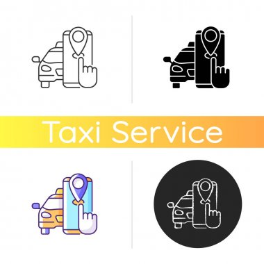 Taxi tracker icon. Modern taxi. Convenient and fast city transport. Modern taxi service. Cab tracking mobile application. Linear black and RGB color styles. Isolated vector illustrations icon
