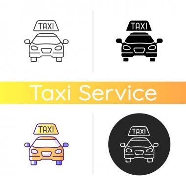 Taxis icon. Modern taxi. Transportation service. Convenient and fast city transport. Taxi checker car icon. Car ordering. Linear black and RGB color styles. Isolated vector illustrations icon