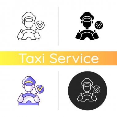 Verified drivers icon. Drivers with a license. Safe travel guarantee. Check taxi service personeel. Licensed drivers. Safe ride.Linear black and RGB color styles. Isolated vector illustrations icon