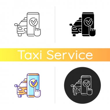 Taxi booking icon. Online transportation service. Order taxi using your phone. Modern transportation service. Car service. Linear black and RGB color styles. Isolated vector illustrations icon