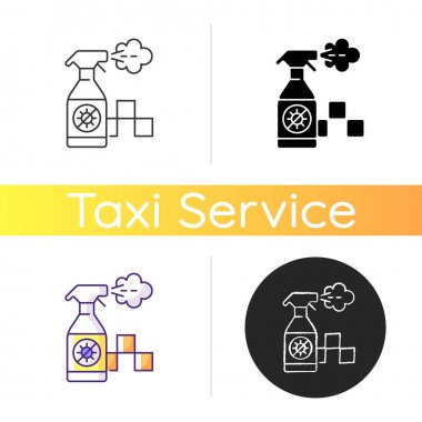 Regularly disinfected cab icon. Ensuring the safety of passengers. Sanitizer bottle. City trasport. Taxi safe service. Linear black and RGB color styles. Isolated vector illustrations icon
