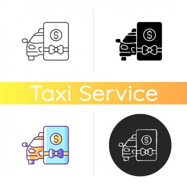 Taxi gift card icon. Delivery service. Seasonal discount on transportation. Gift certificate car icon. Card with bow. Linear black and RGB color styles. Isolated vector illustrations icon