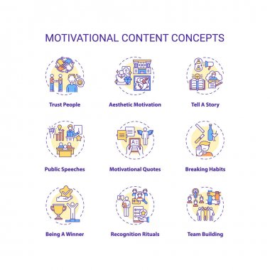 Motivational content concept icons set. Making people feel inspirational idea thin line RGB color illustrations. Achieving goals and willingness. Vector isolated outline drawings. Editable stroke icon