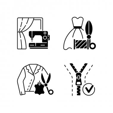 Clothes repair service black linear icons set. Professional upholstery. Sewing machine. Leather jacket. Textile and fabric alteration. Glyph contour symbols. Vector isolated outline illustrations icon