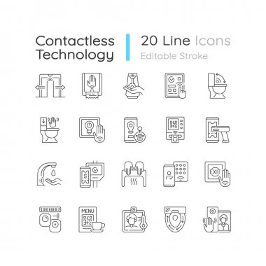 Contactless technology linear icons set. Controlling house eco system from smartphone. Reducing germs. Customizable thin line contour symbols. Isolated vector outline illustrations. Editable stroke icon