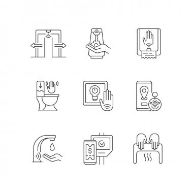 Contactless technology linear icons set. Smart devices with interaction through devices. Remote control. Customizable thin line contour symbols. Isolated vector outline illustrations. Editable stroke icon