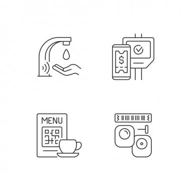 Contactless technology linear icons set. Touchless soap dispenser in public bathrooms. Scanning qr code. Customizable thin line contour symbols. Isolated vector outline illustrations. Editable stroke icon