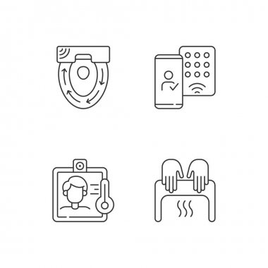 Contactless technology linear icons set. Special automatic toilet seat cover. Mobile credentials. Customizable thin line contour symbols. Isolated vector outline illustrations. Editable stroke icon