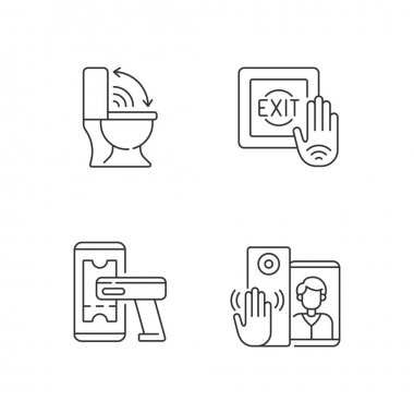 Contactless technology linear icons set. Modern touchless toilet seat. No touch exit switch. Customizable thin line contour symbols. Isolated vector outline illustrations. Editable stroke icon