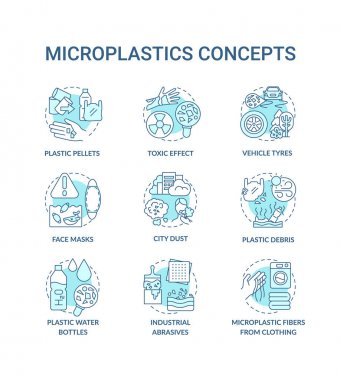 Microplastics concept icons set. Top environmental challenges idea thin line RGB color illustrations. Avoiding microplastics tips. Planet saving. Vector isolated outline drawings. Editable stroke icon