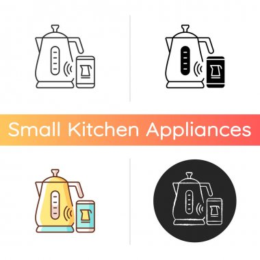 Smart kettle icon. Gadget with wireless wifi control. Device for brewing tea. Small kitchen appliance. Innovative technology. Linear black and RGB color styles. Isolated vector illustrations icon