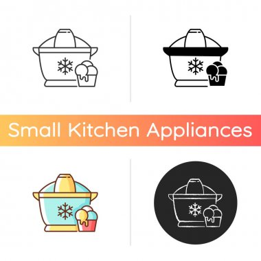 Ice cream maker icon. Freezer gadget. Electrical utensil for home treat preparation. Icecream machine. Small kitchen appliance. Linear black and RGB color styles. Isolated vector illustrations icon