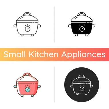 Slow cooker icon. Porcelain crock pot. Electric utensil for food preparation. Pot for cooking meal. Small kitchen appliance. Linear black and RGB color styles. Isolated vector illustrations icon