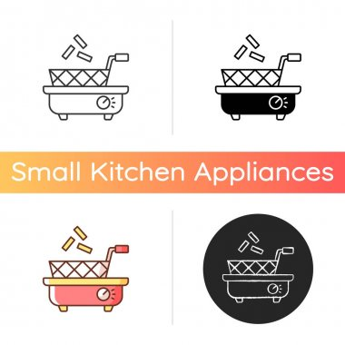 Deep fryer icon. Preparing french fries. Cooking junk food. Household electric utensil. Tabletop basket. Small kitchen appliance. Linear black and RGB color styles. Isolated vector illustrations icon