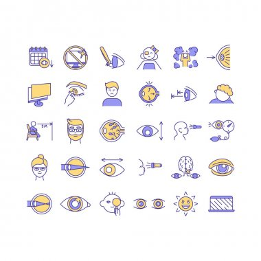 Eye health RGB color icons set. Curing vision system of human body. Removing dead cells of bdy organs. Special medical help to fight diseases and problems. Isolated vector illustrations icon